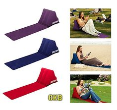 CKB Ltd® The Chill Out Portable Travel Inflatable Lounger with Wedge Shape Back Cushion Outdoor - Perfect for Reading in the Garden Camping and Festivals