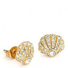 COACH PAVE SHELL STUD EARRINGS