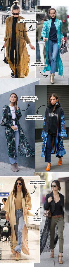 Inspirações de street style look com kimono para dias frios.