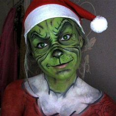 The Grinch face paint by lgoresfx