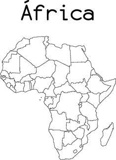 11 Mapas da África para Colorir e Imprimir - Online Cursos Gratuitos, Africa Drawing, Africa Painting, South Africa Art, North Africa, Afrika Tattoos, Printable Maps, Classical Education, Montessori Materials, Animal Drawings