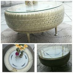 Dye mesa de pneu com calota e tampo de vidro