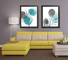 Abstract art Abstract print Gray Teal White printable home