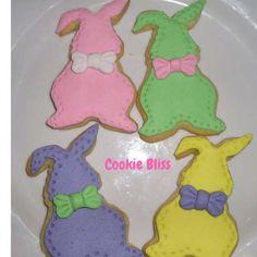 12 Pastel Easter Bunnies Heart Cookies Easter Gifts by CookieBliss