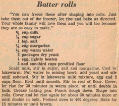 Vintage Recipe Clipping For Batter Rolls Create Perfect Melt In The Mouth Dinner Rolls Cooking with Retro Recipes, Old Recipes, Vintage Recipes, Bread Recipes, Cooking Recipes, Pastry Recipes, Family Recipes, Cooking Tips, Healthy Recipes