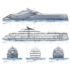 Blue Heron superyacht is a conceptual project that represents a study of the factors ifluencing the design of ships from architectural point of view. This project attempt to find an individual stylistic expression in the realm of yacht design t. Yacht Design, Boat Design, Yatch Boat, Flying Vehicles, Spaceship Design, Naval, Concept Ships, Deck Plans, Super Yachts
