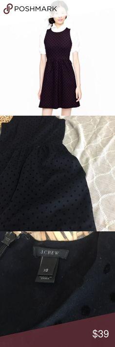 J Crew Womens Black Polka Dot Ponte Dress J Crew Womens Black Polka Dot Ponte Dress in Velvet Size XS J. Crew Dresses