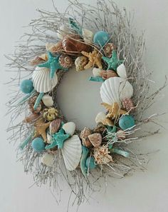Coastal Wreath, Nautical Wreath, Seashell Wreath, Seashell Crafts, Coastal Decor, Sand Crafts, Beach Crafts, Diy And Crafts, Seashore Decor