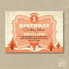 Woodland Fox Birthday Invite by Cellar27 on Etsy, $15.00