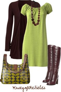 With a different shade of green, this could be cute on me.  I like the brown contrast.