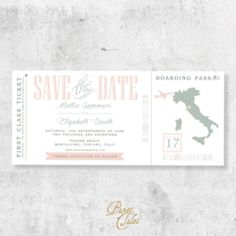 Olive and Blush Pink, Italy, Boarding Pass Destination Wedding, Save the Dates // DIGITAL