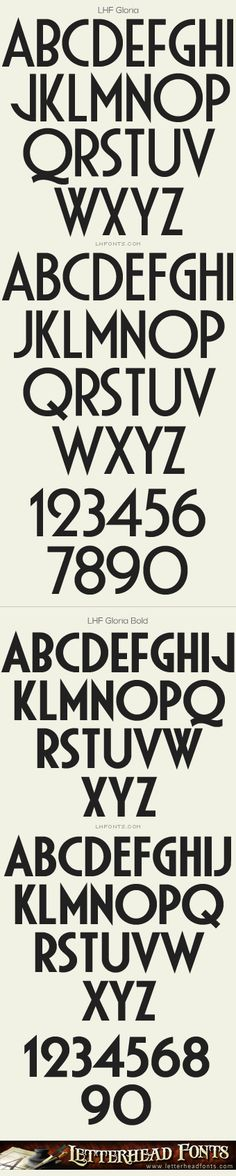 Letterhead Fonts / LHF Gloria font set / Art Deco Fonts
