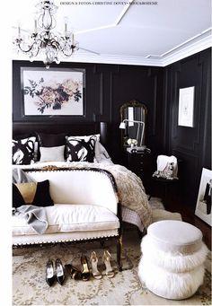 O preto e o branco em um lindo quarto