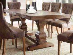 Rustic Modern Dining Room Table Modern Dining Table With Chairs - Home decor Modern Rustic Dining Table, Rustic Dining Room Sets, Cheap Dining Room Sets, Dining Table With Leaf, Trestle Dining Tables, Dining Table Design, Rustic Modern, Farmhouse Table, Dining Area