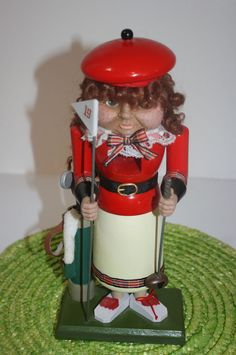 """Golf Nutcracker Sculpted Face Woman 19th Hole 11"""" Golfer Bag Clubs #Traditional #Unknown"""