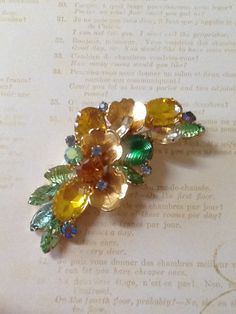 STUNNING Vintage gold and green floral Brooch jewelry by QuiltsETC on Etsy