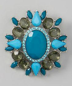 Look at this #zulilyfind! Silver & Blue Jewel Brooch #zulilyfinds