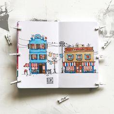 Улочка в скетчбуке Leuchtturm1917 Sketchbook A6 #copic #copicmarker #marker #creativeart #sketch #sketching #art_we_inspire #graphic…