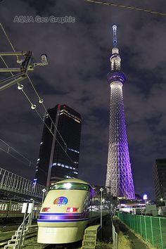 東京スカイツリー ライトアップ  東武鉄道 特急スペーシア 東京スカイツリーライティングデザイン 「雅」