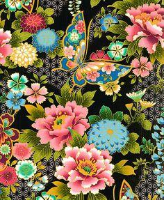 ASIAN JAPANESE FABRIC Butterfly Garden Black Per by AsianFabrics, $5.00