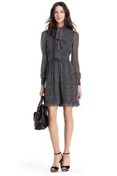 DVF Arabella Tie Neck Polka Dot Chiffon Dress In dotted batik tiny black