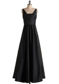 Vision of Grandeur Dress - Black, Solid, Beads, Empire, Maxi, Tank top (2 thick straps), Long, Formal, Wedding, Vintage Inspired, 50s.