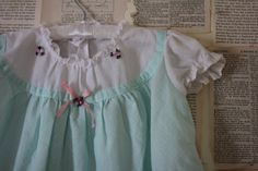 Vintage Baby Dress Retro Mint Green Swiss Dot by AudreyBlissful, $8.99