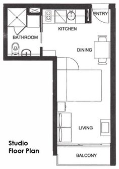 Studio floorplan. Bed is a pull down Murphy bed opening up the space during the day. Floors are hardwood and interior a nice bright white (see photo also pinned).