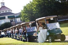 This would be a fun idea for a whole family photo, after ceremony when guests are getting carted back to the clubhouse