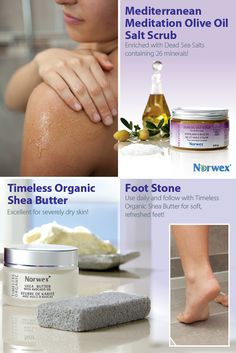 Mediterranean Meditation Olive Oil Salt Scrub is enriched with Dead Sea Salts containing 26 minerals. Removes dry, flaky skin, providing a smooth finish.  Timeless Organic Shea Butter has rich, emollient benefits of pure Organic Shea Butter, Avocado Oil and Vitamin E combine to offer an incredible moisturizing cream. Foot Stone ~ Made with 100% pure pumice.