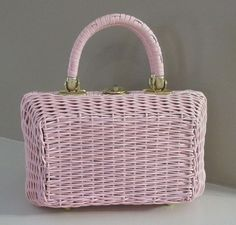 RARE Vintage PINK Wicker Basket Box Purse handbag Bubble gum Cotton candy  preppy girl garden party shabby chic Jackie Kennedy by LeFrenchVintageInc
