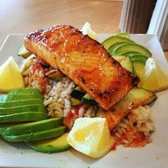 "@instagramfitfoods's photo: ""Honey soy salmon with brown rice and avacado! #instagramfitfoods"""