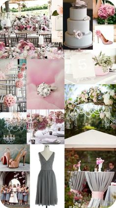 Pink and Gray Wedding Inspiration Board