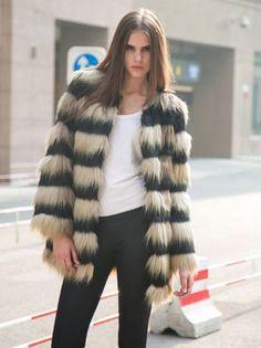 Khaki Stripes Long-line Fox Faux Fur Coat   #USTrendy  www.ustrendy.com