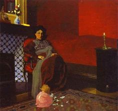 Félix Edouard Vallotton (Swiss, Intimism, Associated with Les Nabis, 1865–1925): Interior Red Room with Woman and Child (Intrieur Chambre rouge avec femme et enfant), 1899. Oil on cardboard