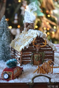 Not a fan of making gingerbread houses. This log cabin house it so cute!!! I want to make one!!