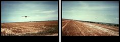 Cropdusting, Clovis, New Mexico, 1978  [diptych photographs on cibachrome paper, 20 × 30 in  50.8 × 76.2 cm] https://artsy.net/artwork/eve-sonneman-cropdusting-clovis-new-mexico