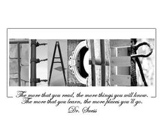 Teacher Alphabet Photo Art Picture Teacher Christmas Holiday Gift Different Quotes