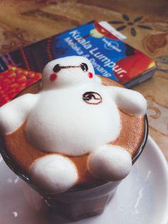 Baymax Coffee Coffee Doodle, Coffee Latte Art, Coffee Coffee, Coffee Cups, Cute Snacks, Cute Desserts, Chocolates, Watermelon Art, Bento Recipes