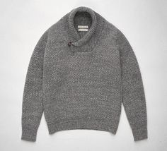 S.E.H. Kelly - Grey tuck stitch shawl neck wool jumper Made in England
