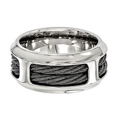 Edward Mirell Double Cable Band in Stainless Steel, 10MM