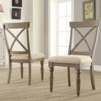 Aberdeen Wood X-Back Upholstered Side Chair (each) in Weathered Driftwood by Riverside Furniture