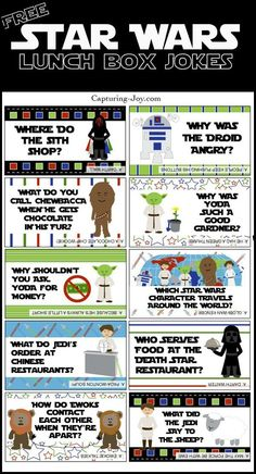 Wars Jokes Surprise your kids with these fun Free Printable Star Wars Lunch Box Jokes!Surprise your kids with these fun Free Printable Star Wars Lunch Box Jokes! Star Wars Witze, Star Wars Jokes, Star Wars Food, Star Wars Lunch Box, Star Wars Party Favors, Anniversaire Star Wars, Sneak Attack, For Elise, Lunch Box Notes