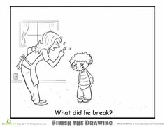 Worksheets: Finish the Drawing: What Did He Break?