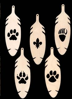 Cub Scout Ranks Fleur de lis Bobcat Wolf Tiger Bear Pawprint in Feather Southwest Style Natural Craft Wood Cutout 914. $7.99, via Etsy.