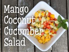 Super refreshing, low fat, and versatile side salad! Cucumber Salad, Side Salad, Mango, Coconut, Fat, Breakfast, Manga, Morning Coffee