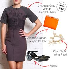 Wear this charcoal grey vintage dress with a front zipper teamed with hand embroidery and cutwork design plume shoes. Accessorize this with a pearl coin fly bracelet and this acrylic orange clutch to break the monotony of this look. #ootd #lotd #lookoftheday #pearl #cutwork #classy #vintage #clutch