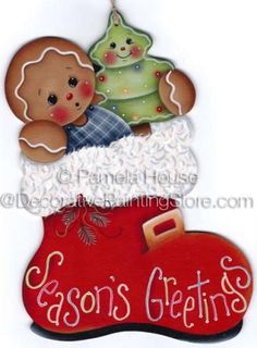 The Decorative Painting Store: Seasons Greeting Santas Boot Wall Hanging ePattern by Pamela House - PDF DOWNLOAD, Newly Added Painting Patterns / e-Patterns