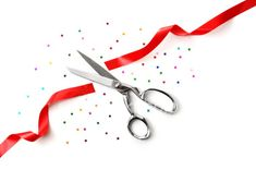 Grand Opening Illustrated Scissors Red Ribbon Stock Photo (Edit Now) 9217837 Grand Opening Party, Corporate Communication, Red Ribbon, Open House, Party Planning, Salons, Web Design, Product Launch, Invitations