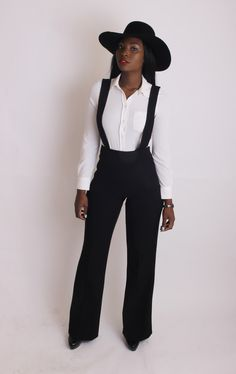 High waisted pants with suspenders